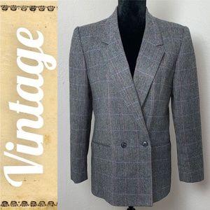 BOGO SALE Vintage Plaid Wool Blend Coat